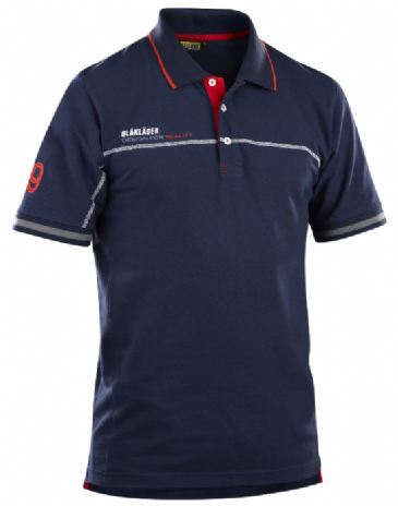 Blaklader 3327 Branded Polo Shirt (Navy Blue / Red)